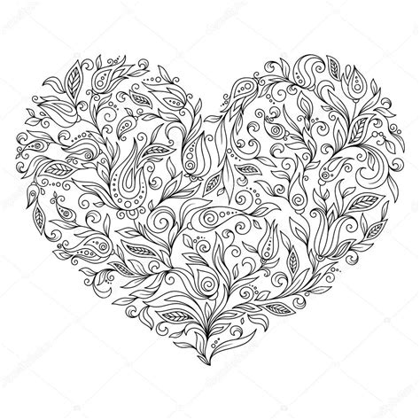 coloring page flower heart st valentines day greeting card foto stock  karpenyuk