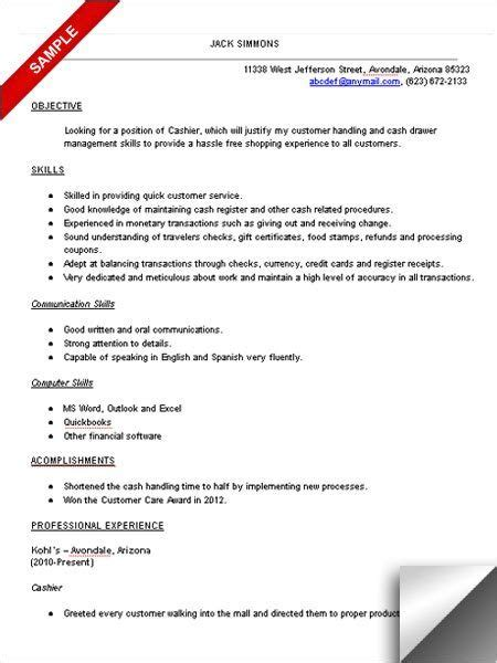 Cashier Objective For Resume by Sle Resume Letter For Cashier Cashier Resume Sle
