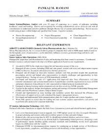 resume summary exles business analyst exle relevant experience and abbott laboratories for business analyst resume sles expozzer