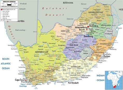 political map  south africa ezilon maps