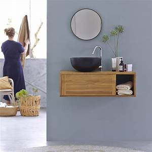 meuble salle de bain suspendu meuble sous vasque en teck With meuble salle de bain suspendu en teck