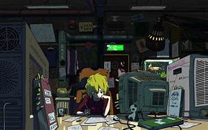 Wallpaper, Lofi, Boy, Writing, In, Front, Of, Crt, Tv, Illustration