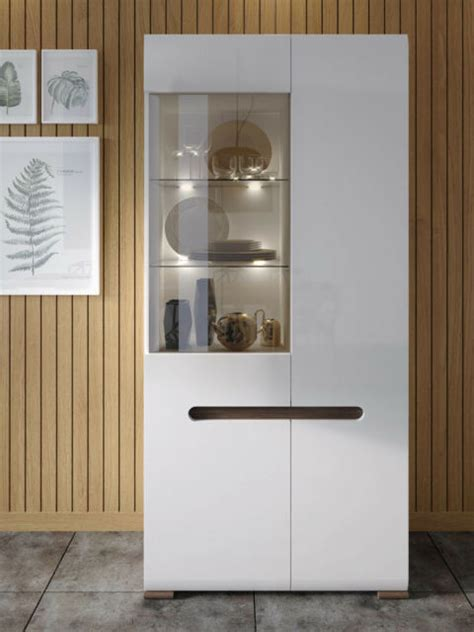 white gloss display cabinet tall  door unit glass shelves