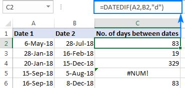 calculate number days excel