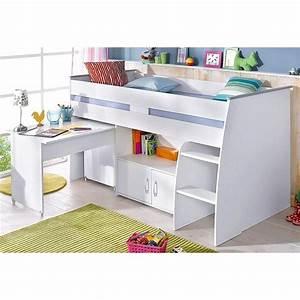 Lit Mi Hauteur Avec Rangement : lit plateforme mi haut avec bureau et rangement int gr s 1 ~ Premium-room.com Idées de Décoration