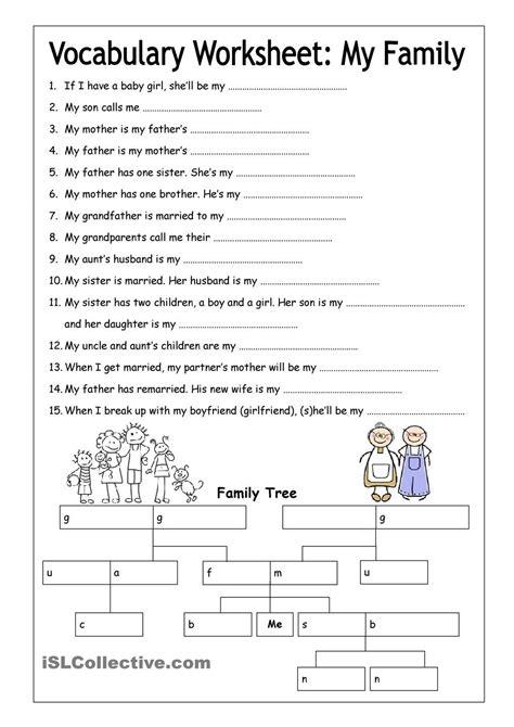 vocabulary worksheet my family medium english 6th