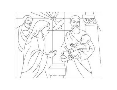 Coloring Jesus Presentation Temple Simeon Pages Anna