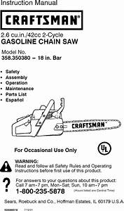 Craftsman 358350380 User Manual Gas Chainsaw Manuals And