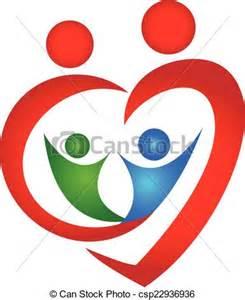 Heart Shape Family Logos Design