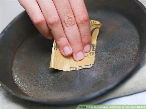 iron rust cast skillet remove step pan rusting seasoning steps keeps