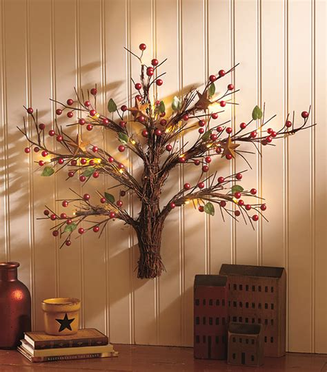 lighted country wall tree w faux berries stars mini led