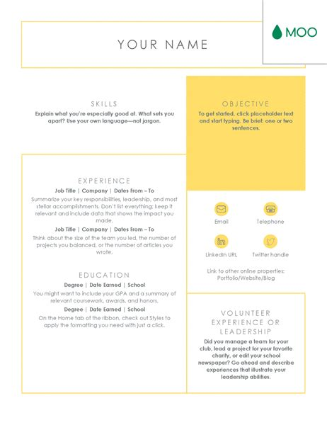 moo resume templates crisp and clean resume designed by moo office templates