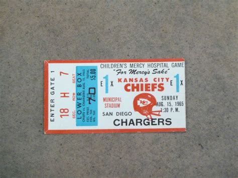 Kansas City Chiefs San Diego Chargers Afl Ticket