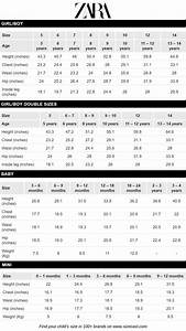 Zara Size Chart Baby Clothes Size Chart Baby Clothing