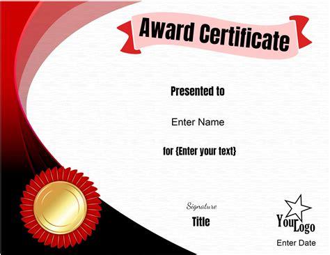 editable certificate template customize