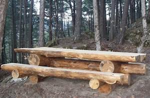 Rondin De Bois Table : table en rondins de bois brut photo de dans les bois boismontagne06 ~ Teatrodelosmanantiales.com Idées de Décoration
