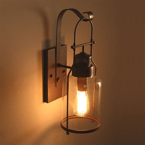 lantern sconce indoor industrial loft rust metal lantern single wall sconce with