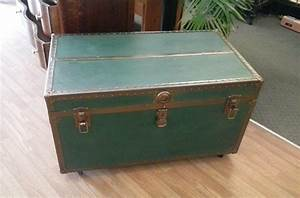 large vintage steamer trunk with original tray on wheels With trunk coffee table with wheels
