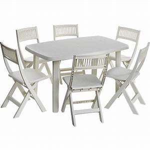 Salon De Jardin En Plastique Pas Cher : table de jardin pvc l 39 univers du jardin ~ Teatrodelosmanantiales.com Idées de Décoration