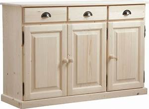 buffet 3 portes 3 tiroirs en bois brut With porte d entrée pvc avec meuble bas de salle de bain en bois