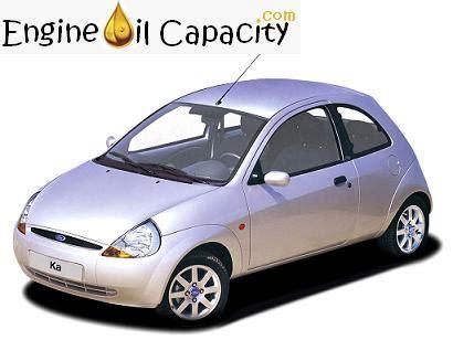ford ka  engine oil capacity  quarts liters engine