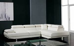 T60 ultra modern white leather sectional sofa for Modern sectional sofas