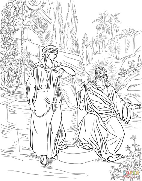 Kleurplaat Bethesda by Jesus And The Samaritan At The Well Coloring Page