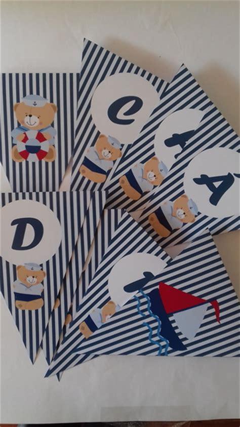 bandeira cha de bebe urso marinheiro elo7