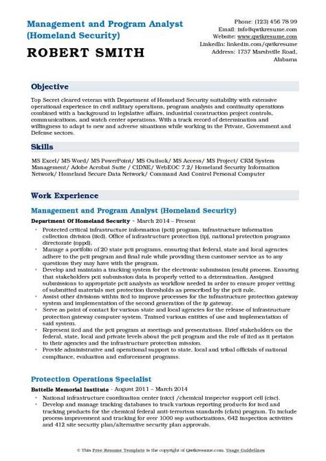 Government Resume Guidelines by Management And Program Analyst Resume Sles Qwikresume