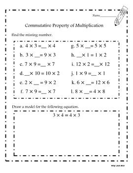commutative property of multiplication worksheets common core aligned