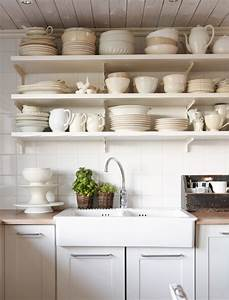 Tips for stylishly stocking that open kitchen shelving for Kitchen with open shelving