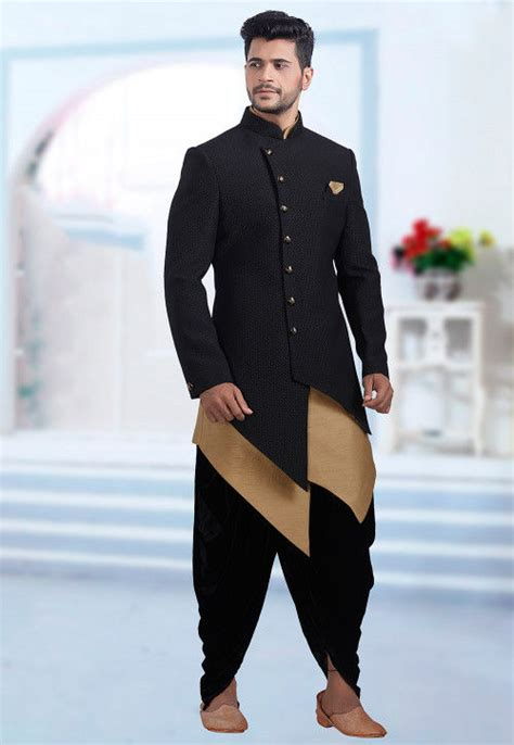 plain art silk jacquard jodhpuri suit  black mhg