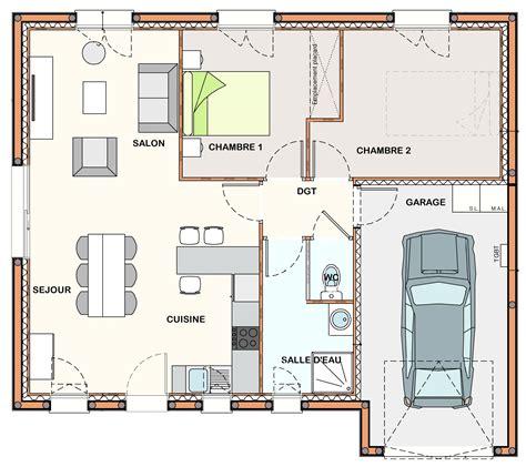 Plan Maison 2 Chambres - élégant plan de maison plain pied 2 chambres frais