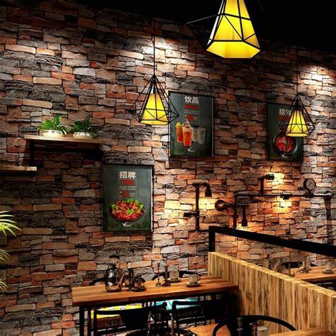 vintage stone brick wallpaper  walls roll  pvc