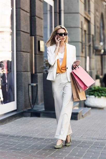 Shopping Woman Carried Away Stylish Don Gone