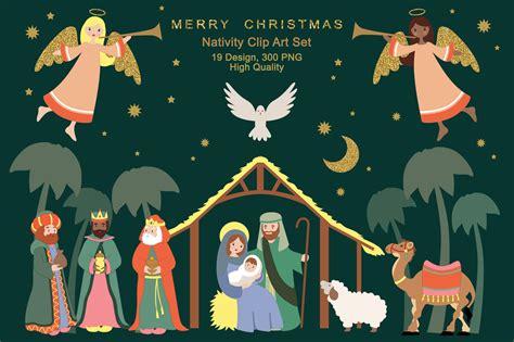 nativity religious christmas clipart illustrations