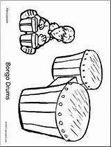 Bongo Coloring Drums Abcteach Drum Bongos Percussion Instrument sketch template