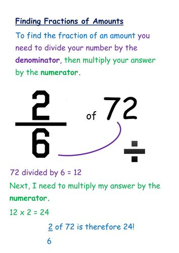 Fractions Of Quantitiesamounts Poster By Georginamindham  Teaching Resources Tes