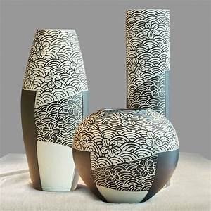 Ceramic, Porcelain, Tabletop, Vase, Collection, Set, 3, Pcs, With, Simple, Wave, And, Flower, Pattern