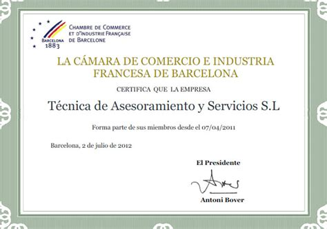 chambre de commerce et d 39 industrie française à barcelone