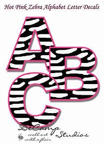 hot pink zebra letter decals personalized name safari With nursery letter decals