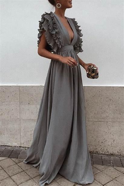 Dresses Maxi Short Deep Neck Sleeve Evening