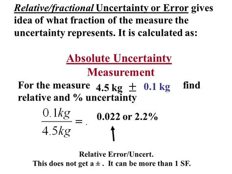 error uncertainty propagation reporting absolute error