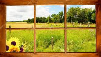 country farmhouse plans summer country view through window stock photo