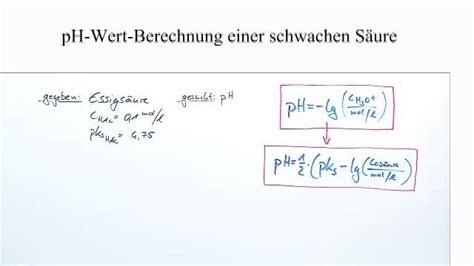 ph wert berechnung schwacher saeuren chemie  lernen
