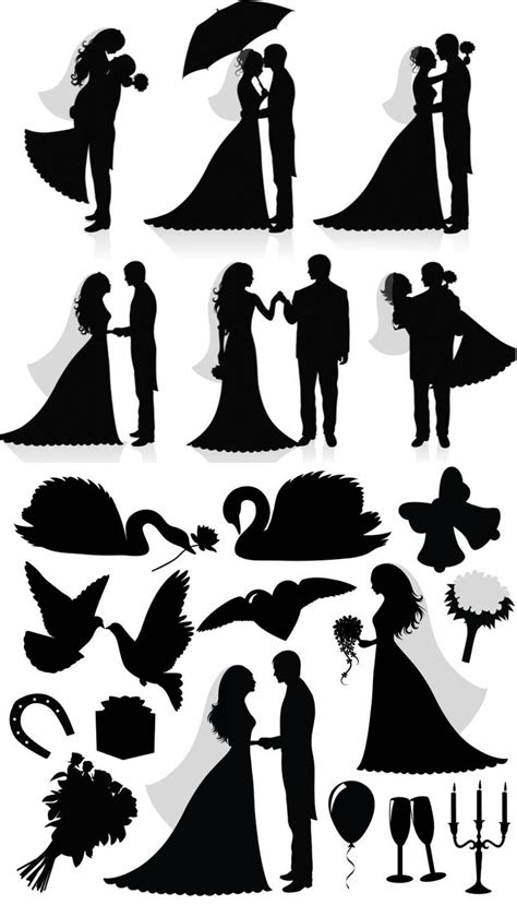 silhouette newlyweds vector vector graphics vector
