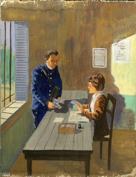 adresse bureau vers 1950 facteur et receveuse dans un bureau de poste