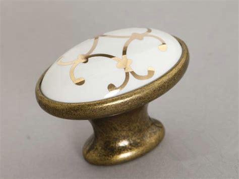 poignee et bouton de cuisine laiton antique ovale en céramique cuisine boutons cabinet