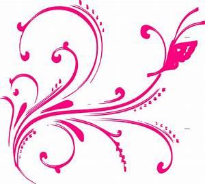 Pink Butterfly Flourish Clip Art at Clker.com - vector ...