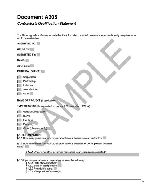 Aia A305 Template by A305 Contractor S Qualification Statement Cms